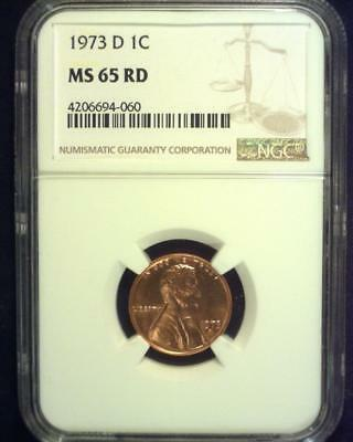 1973-D Lincoln Memorial Cent Gem Brilliant Certified Ngc Ms65 Red ~S332
