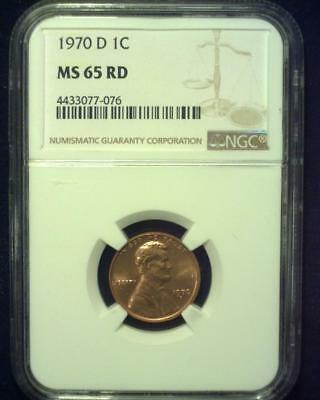 1970-D Lincoln Memorial Cent Gem Brilliant Certified Ngc Ms65 Red ~S325