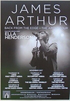 James Arthur - 2017 Concert Flyer - The Arena Tour - Back From The Edge