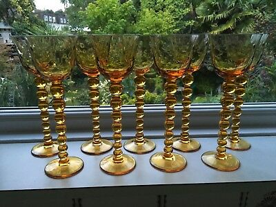 9 Fine quality ST LOUIS BUBBLES extra tall Crystal WINE GLASSES amber SIGNED