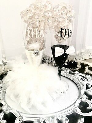 Personalised Wedding Champagne Glasses Mr And Mrs Art Deco Gift Name