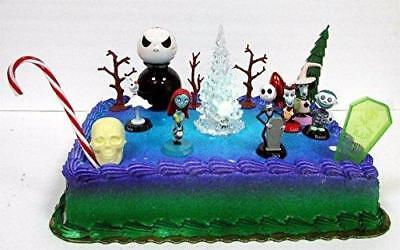 nightmare before christmas 17 piece birthday cake topper set featuring 2