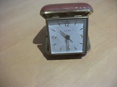 Europa vintage travel clock 2 jewels in tan case with alarm