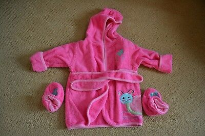 Baby Girl Pink Terry Bathrobe and Slippers Size 0-9 Months