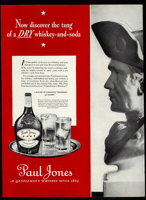 1937 Vintage Print Ad 30's PAUL JONES whiskey bottle glass ice tray image
