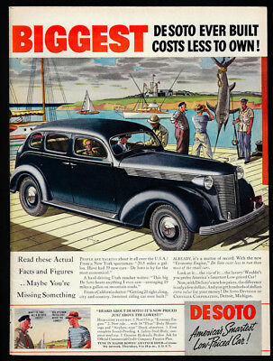 1937 Vintage Print Ad 30's DESOTO black car illustration boat dock fishing art