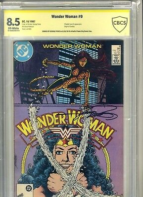 WONDER WOMAN #9 CBCS 8.5 ORIGIN & 1st Appearance of CHEETAH SIGNED GEORGE PEREZ