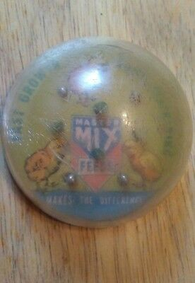 Master Mix Feeds vintage advertising plastic bubble ball game.
