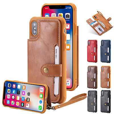 PU Leather Magnetic Card Slots Wallet Case Flip Stand Cover For iPhone X 8/7 6s