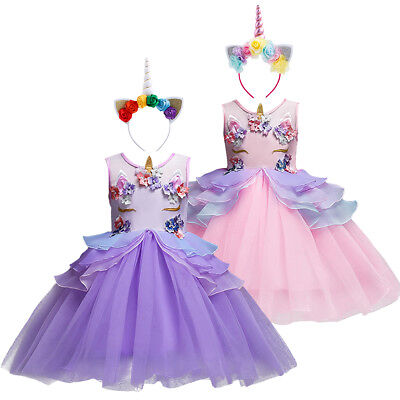 Girls Unicorn Birthday Costume Party Halloween Cosplay Dress Up Princess Outfit