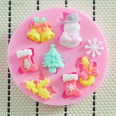 6AFD 3D Quality Christmas Tree Bell Silicone Snowflake Cake Fondant Mold Xmas DI