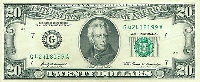 1969 series G/A (CHICAGO) $20 Dollar Federal Reserve Note Bill US Currency