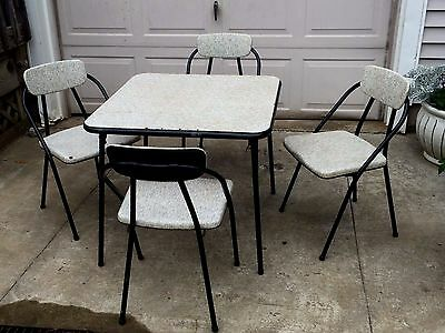 Mid Century Modern CARD TABLE & 4 CHAIRS Stylaire Atomic Retro