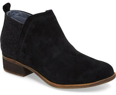 9728f6775b7 NEW TOMS Womens Deia Black Suede Wool Side Zip Ankle Bootie Boot Size US 7