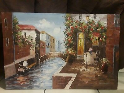 "Lovely Original Vintage Signed Oil Painting Venice Italy Canal Bridge 36""x24"""