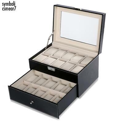20 Slot 2 Tier Watch Storage Case Box Display Jewelry Organizer Holder Glass H1