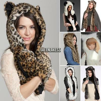 Animal Winter Warm Faux Fur Hat Fluffy Plush Cap Hood Scarf Shawl Glove GRLN