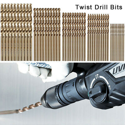 50pcs/set Titanium Coated HSS Twist Drill Bits Metric System 1mm-3mm.