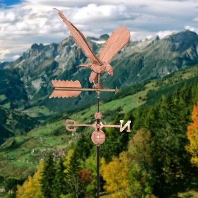 Polished Outdoor Roof Mounted Copper Eagle Weathervane Rustic Directional Garden