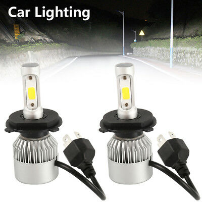 2x H4 9003 200W 20000LM LED Bulb Lamp Headlight Kit Car Hi-Lo Beam White