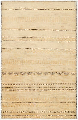 Traditional Handmade Modern Gabbeh Area Rug Beige Color Turkish Rugs Size (3x5)
