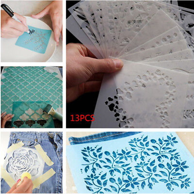 13PC DIY Craft Hollow Layering Stencils For Wall Painting Scrapbooking Embossing