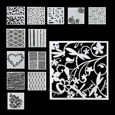 13x Craft Hollow Embossing Layering Stencils For DIY Wall Painting Scrapbooking