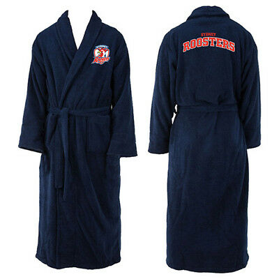 NEW Sydney Roosters NRL Adult Polyester Dressing Gown Bath Robe Man Cave Gift