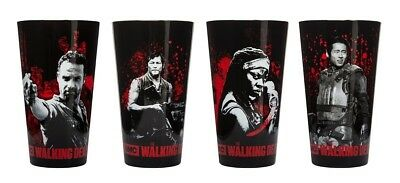The Walking Dead Characters Set of 4 Drinking Pint Glasses. Best Price