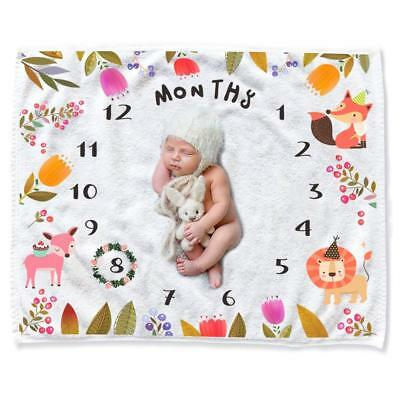 Baby Monthly Milestone Blanket Shower Gifts, Thick/Soft/Cozy Flannel 0-12 Months