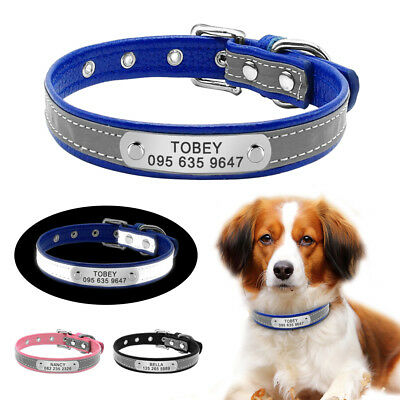 PetArtist® Leather Engraved Dog Collar Cat Puppy Collars Reflective Padded