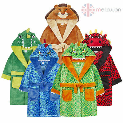 Boys Crocodile Lion Dinosaur Dressing Gown Robe Novelty Animal Dragon Plush Soft
