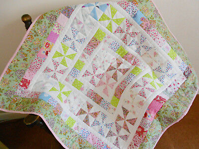 REDUCED Handmade Patchwork Cotton Cot Quilt, Pretty Multicoloured, Play Mat
