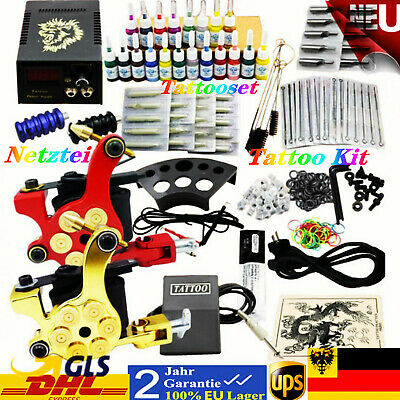 Tätowierung Tattoo Set  Tattoomaschine 20 Inks Needles Komplett Tattoo Kit 2
