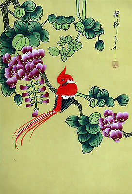 "Chinese silk painting birds flowers 15x11"" traditional watercolor brush ink art"