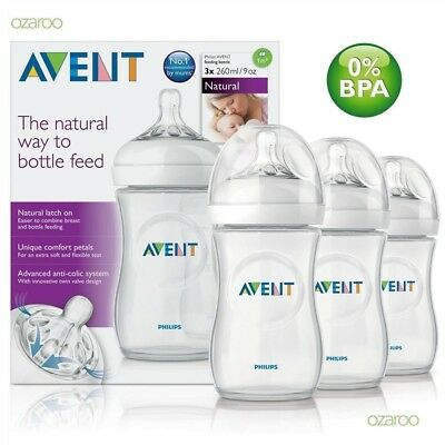 Philips AVENT Natural Feeding Bottle Triple Pack 3 X 260ml/9oz Bottle Set SCF693