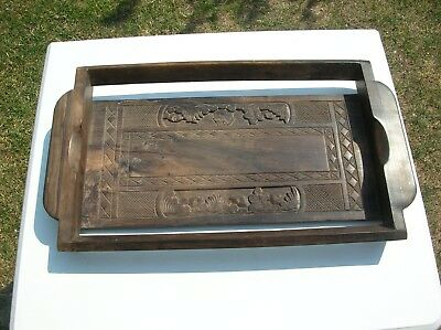 Solid Wooden Hand Carved Drinks Tray (Vintage)?
