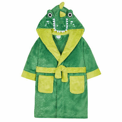 Boys Crocodile Dressing Gown Robe Novelty Animal Hooded Plush Fleece Soft Fluffy