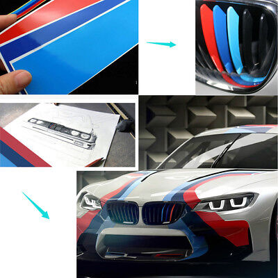 1 Sets M Tech Color Front Grill Wide Badge Sticker Emblems Decal For All Series
