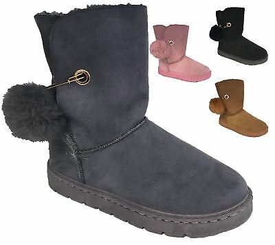 Womens Warm Winter Boots Ladies Fauxe Fur Lined Ankle Casual Shoes