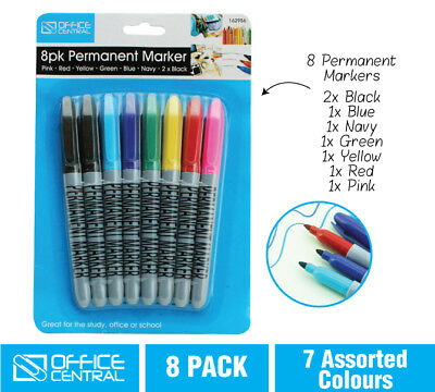 8pk Permanent Markers Whiteboard Marker 7 Colors Black Blue Office School Home