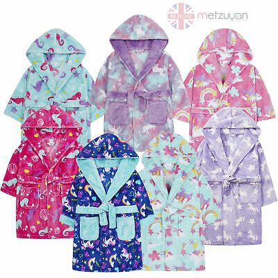 Girls Unicorn Seahorse Rainbow Dressing Gown Robe Plush Fleece Hooded Soft Kids