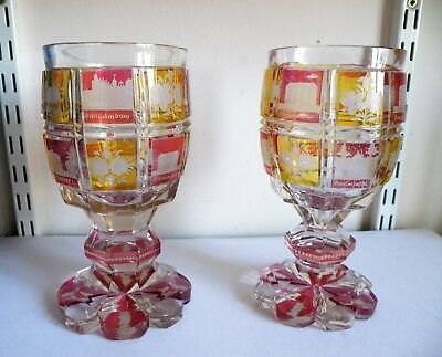 A GOOD LARGE PAIR OF 19th CENTURY BOHEMIAN SPA GLASSES 7.5  INCHES TALL