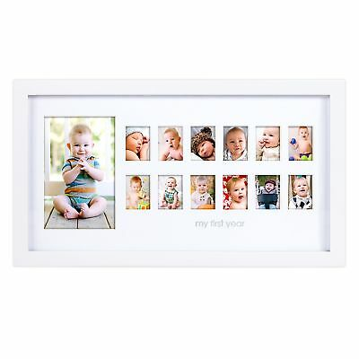 """Pearhead """"My First Year"""" Photo Moments Baby Keepsake Frame White FAST SHIP"""
