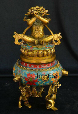 China old Tibetan Bronze Cloisonne Enamel Mahakala Beast Incense Burner Statue