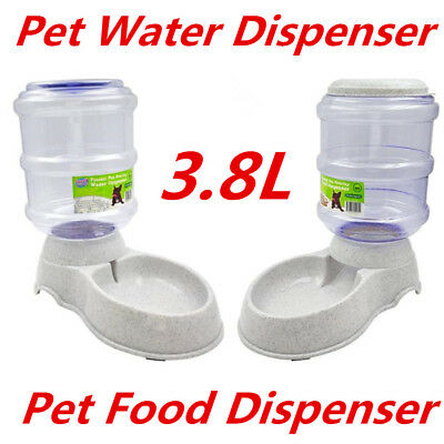 Automatic Plastic Pet Dog Cat Water Food Feeder Bowl Fountain Dispenser 3.8L DUR