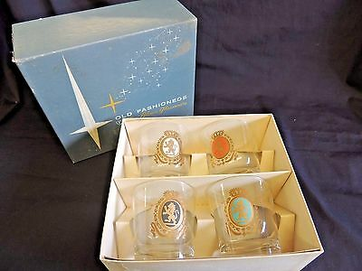 Vintage Armorial Set 4 Old Fashioned Baronet Blown Glass Federal Glass Company