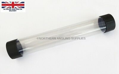 "NAS  2"" Clear Plastic Float Tubes Length 12 inch (30cm) with Black End Caps"