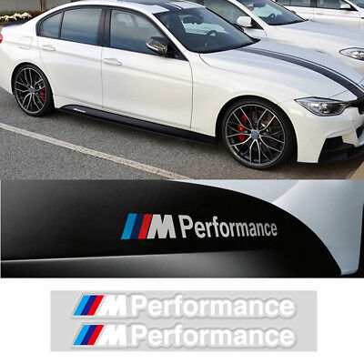 2Set M Tech Color Performance Badge White Sticker Emblems Decal For All Series
