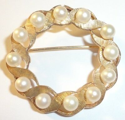 "Vintage 14K Yellow Gold Pearls Wreath Circle 1 5/16"" Brooch Pin 7.2 grams"